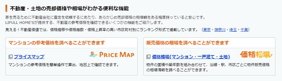 プライスマップと価格相場